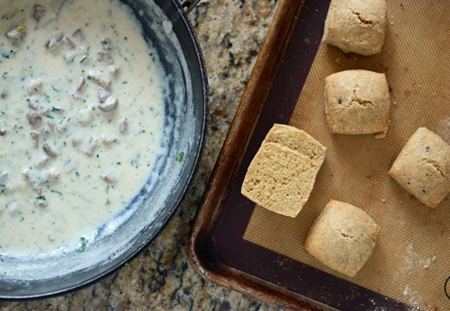Sausage Gravy and Whole Grain Chive Biscuits - TheWellFlouredKitchen.com